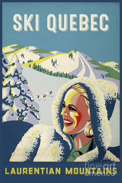 Wall Art - Painting - Vintage Quebec Ski Sports Travel Poster by Tina Lavoie