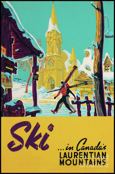 Wall Art - Painting - Vintage Quebec Winter Sport Ski Poster Travel by Tina Lavoie