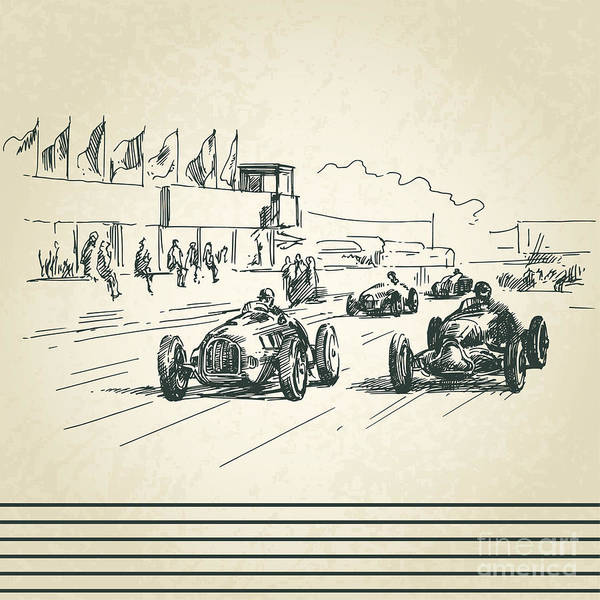 Ride Digital Art - Vintage Racing Cars by Canicula