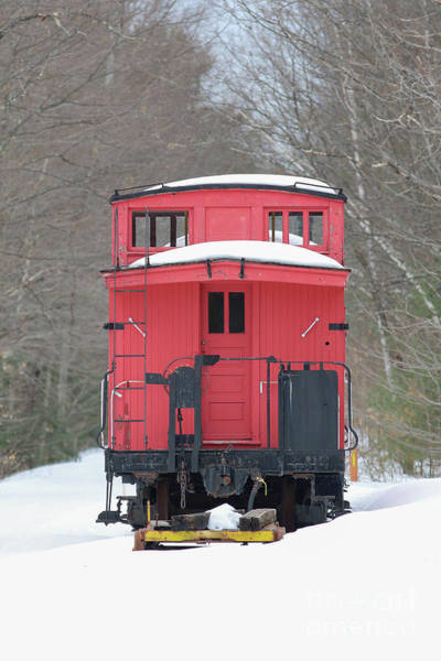 Wall Art - Photograph - Vintage Red Caboose In Winter by Edward Fielding