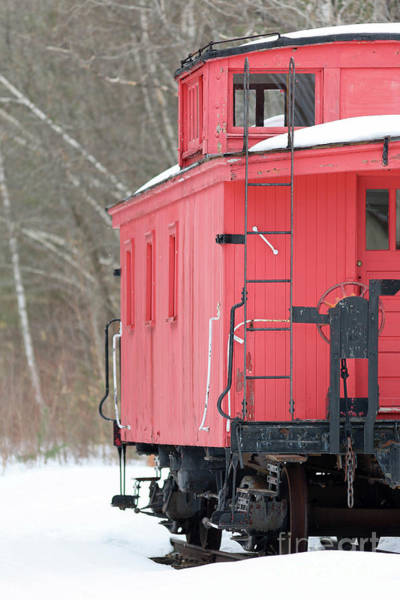 Wall Art - Photograph - Vintage Red Caboose Potters Place Andover Nh by Edward Fielding