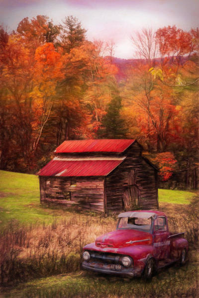 Photograph - Vintage Red Ford Oil Painting by Debra and Dave Vanderlaan