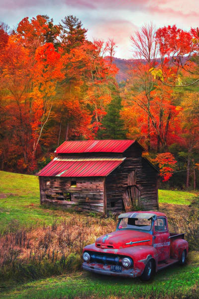 Photograph - Vintage Red Ford Watercolors Painting by Debra and Dave Vanderlaan