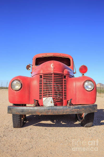 Wall Art - Photograph - Vintage Red Truck In The Desert by Edward Fielding