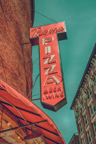Photograph - Vintage Regina Pizza Sign - Boston North End by Joann Vitali