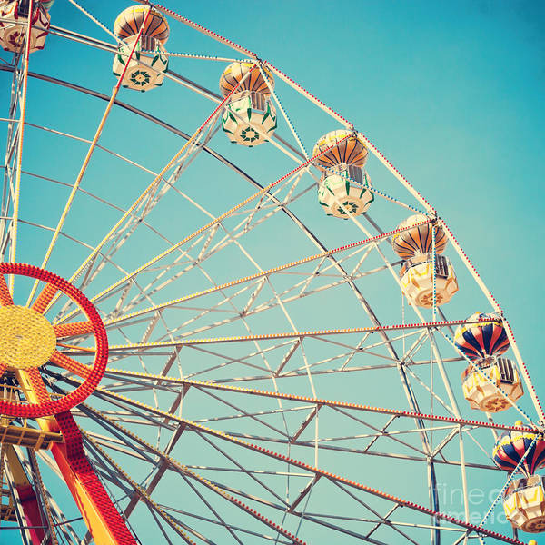Wall Art - Photograph - Vintage Retro Ferris Wheel On Blue Sky by Andrekart Photography