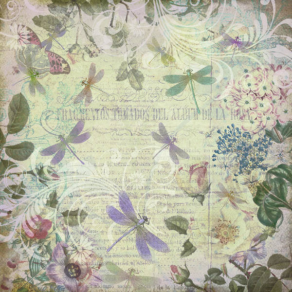 Drawing - Vintage Romantic Botanical With Dragonflies by Peggy Collins
