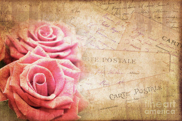 Wall Art - Photograph - Vintage Roses And Postcards by Delphimages Photo Creations