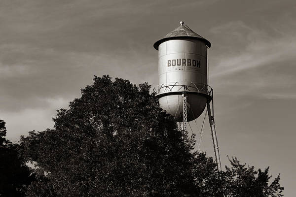 Photograph - Vintage Route 66 Bourbon Water Tower Tank - Sepia Edition by Gregory Ballos