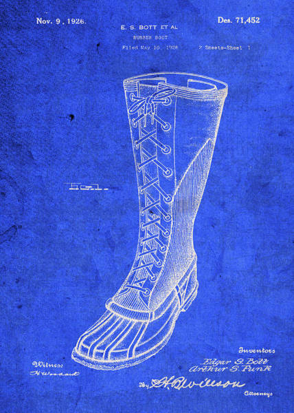 Patent Mixed Media - Vintage Rubber Boot Patent Blueprint by Design Turnpike