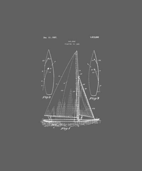 Wall Art - Digital Art - Vintage Sailboat Design Shirt - Old Ocean Boat Sailing Tee by Unique Tees