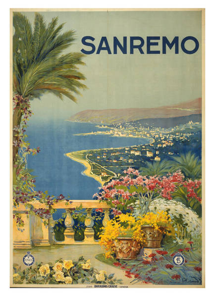 Wall Art - Photograph - Vintage San Remo Italy Travel Poster by Ricky Barnard