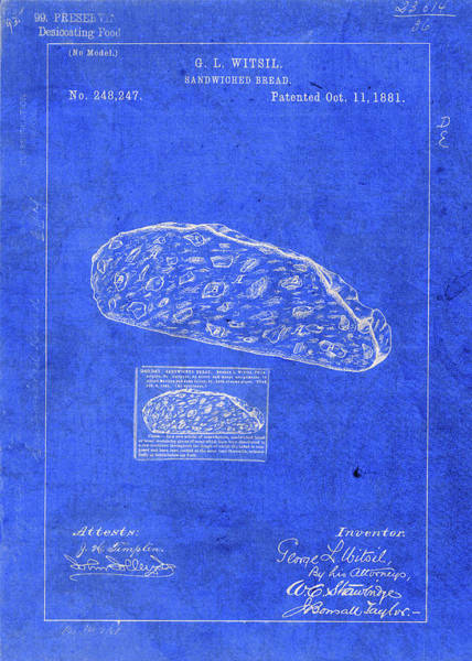 Patent Mixed Media - Vintage Sandwich Patent Drawing Blueprint by Design Turnpike