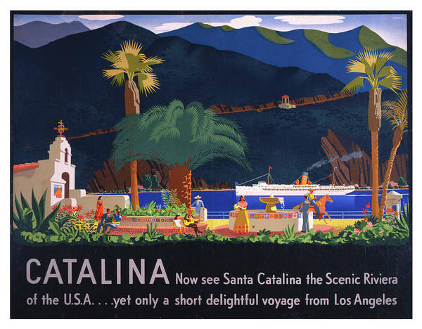 Wall Art - Photograph - Vintage Santa Catalina California Travel Poster by Ricky Barnard