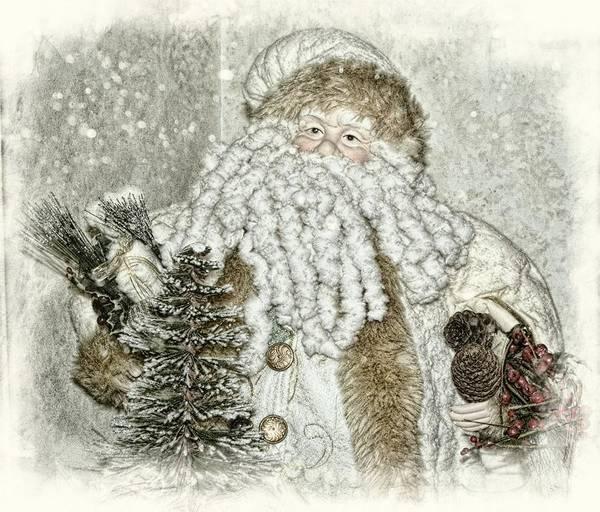 Yule Digital Art - Vintage Santa In Soft Color by Toni Abdnour