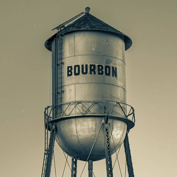 Photograph - Vintage Sepia Bourbon Water Tower At Dusk by Gregory Ballos
