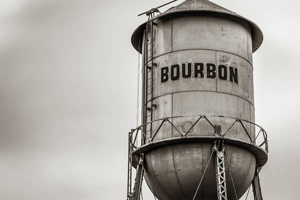 Photograph - Vintage Sepia Bourbon Whiskey Water Tower Barrel by Gregory Ballos