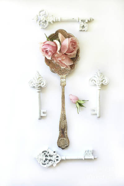 Wall Art - Photograph - Vintage Spoon Floral Wall Art - Antique Spoon White Shabby Chic Cottage Kitchen Wall Art Home Decor by Kathy Fornal