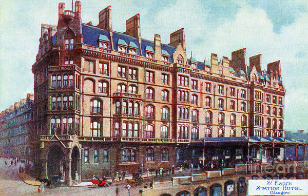 Drawing - Vintage St Enoch Railway Station Hotel Glasgow by Aapshop