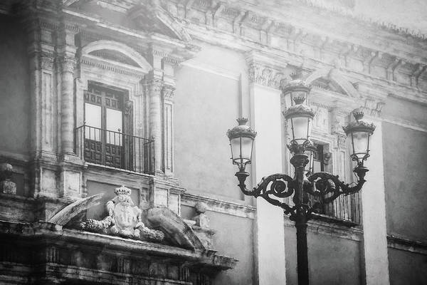 Wall Art - Photograph - Vintage Street Lamps Of Valencia Spain Black And White by Carol Japp