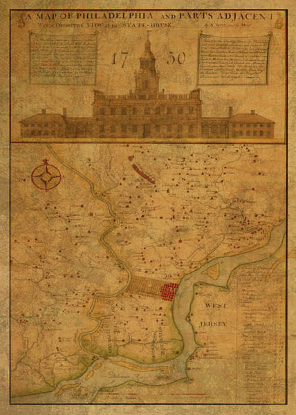 Wall Art - Mixed Media - Vintage Street Map Of Philadelphia Pennsylvania 1750 by Design Turnpike