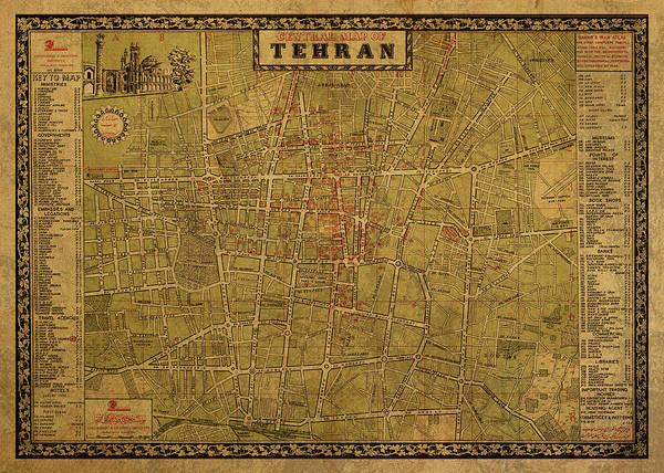 Wall Art - Mixed Media - Vintage Street Map Of Tehran Iran 1964 by Design Turnpike