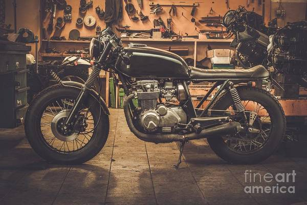 Wall Art - Photograph - Vintage Style Cafe-racer Motorcycle In by Nejron Photo