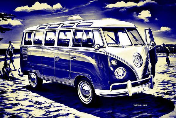 Wall Art - Digital Art - Vintage Surfer Van by Marlene Watson and Crew