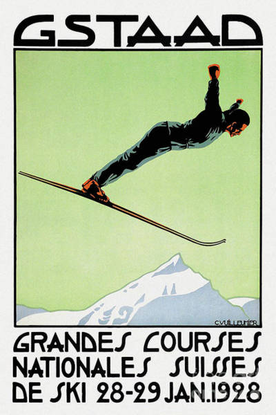 Wall Art - Painting - Vintage Swiss Art Deco Snow Ski Competition Gstaad by Tina Lavoie