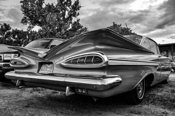 Wall Art - Photograph - Vintage Tail Lights Parked Outside Black And White by Brenda Landdeck