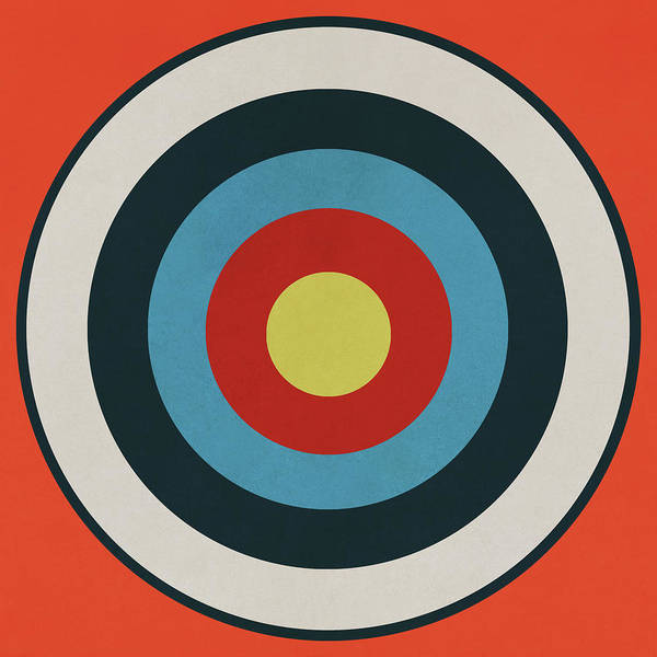 Wall Art - Drawing - Vintage Target - Orange by Eric Fan