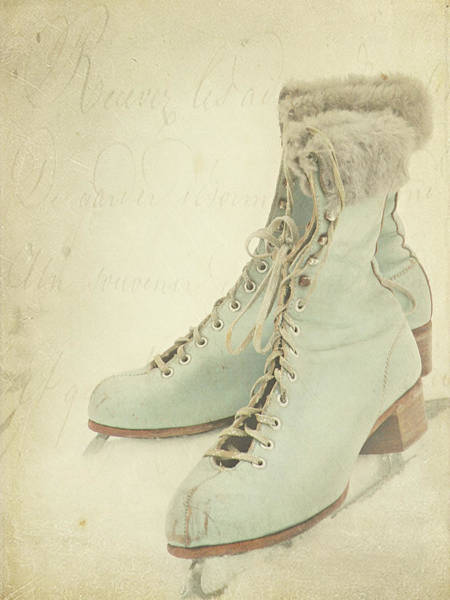 Vertical Garden Photograph - Vintage Teal Skates by My Vintage Gardens Photography