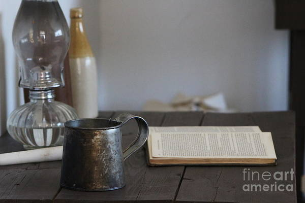Wall Art - Photograph - Vintage Tin Cup And Book On Desk 2 by Colleen Cornelius