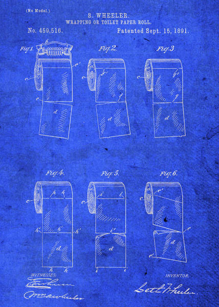 Toilet Paper Patent Wall Art - Mixed Media - Vintage Toilet Paper Roll Holder Patent Blueprint by Design Turnpike