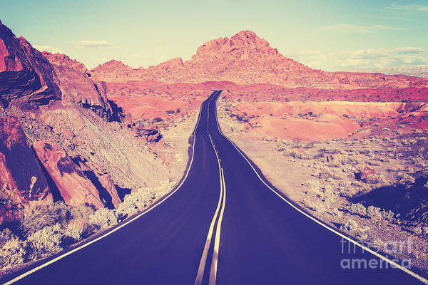 Wall Art - Photograph - Vintage Toned Curved Desert Highway by Maciej Bledowski