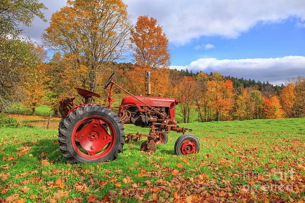 Photograph - Vintage Tractor Fall Foliage Season Vermont by Edward Fielding