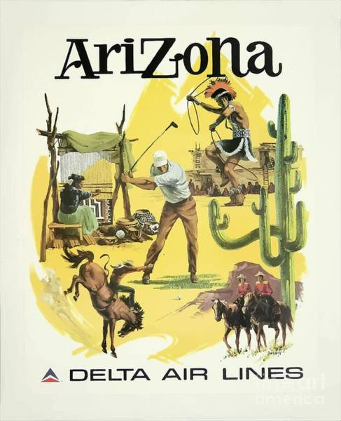 Wall Art - Painting - Vintage Travel Poster - Arizona by Esoterica Art Agency
