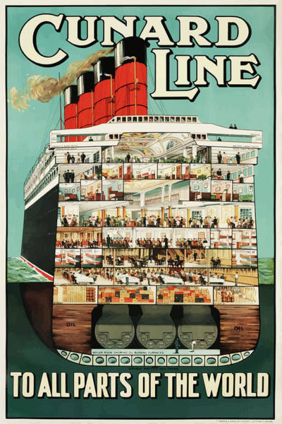 Mixed Media - Vintage Travel Poster Cunard Line by Movie Poster Prints