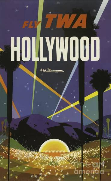 Wall Art - Painting - Vintage Travel Poster - Hollywood by Esoterica Art Agency