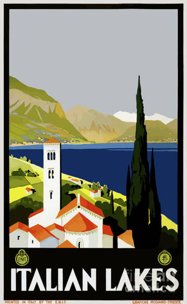 Wall Art - Painting - Vintage Travel Poster - Italian Lakes by Esoterica Art Agency