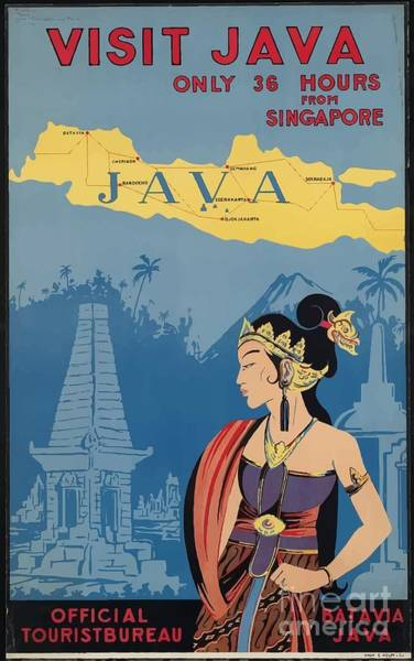 Wall Art - Painting - Vintage Travel Poster - Java by Esoterica Art Agency