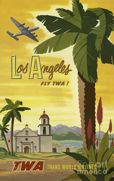 Wall Art - Painting - Vintage Travel Poster - Los Angeles by Esoterica Art Agency