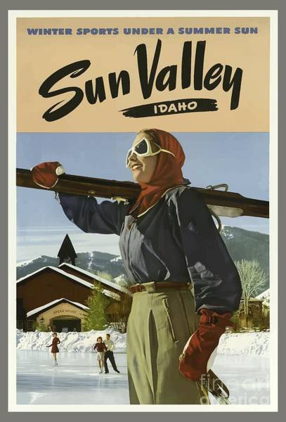 Wall Art - Painting - Vintage Travel Poster - Sun Valley, Idaho by Esoterica Art Agency