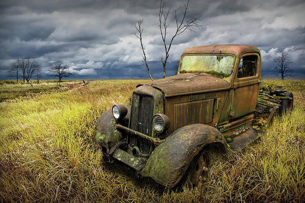 Photograph - Vintage Truck In A Grassy Field Rural Landscape by Randall Nyhof