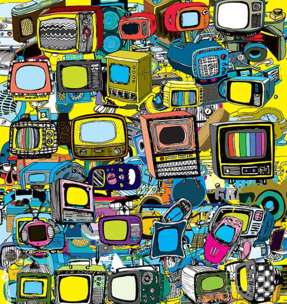 Wall Art - Digital Art - Vintage Tv Vector by Tom And Kwikki
