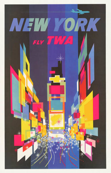 Wall Art - Photograph - Vintage Twa New York Travel Poster by Ricky Barnard