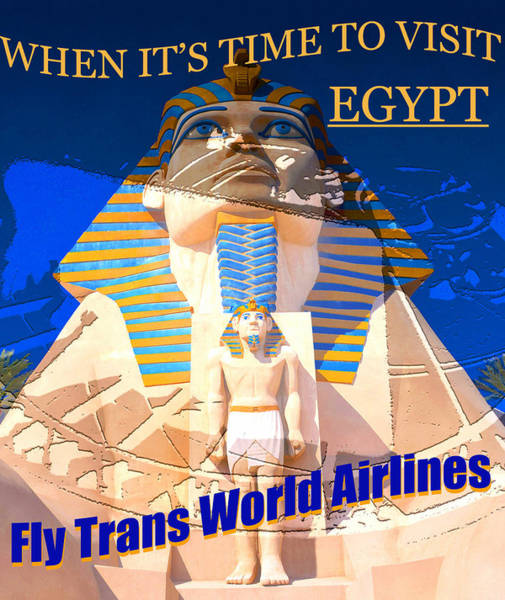 Wall Art - Mixed Media - Vintage Twa Visit Egypt Poster by David Lee Thompson