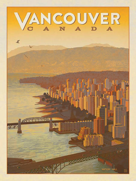 Vancouver Digital Art - Vintage Vancouver, Bc Canada Travel Poster - Circa 1950's by Marlene Watson and Art Crew NZ