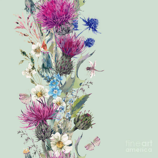 Wall Art - Digital Art - Vintage Vertical Watercolor Herbal by Depiano