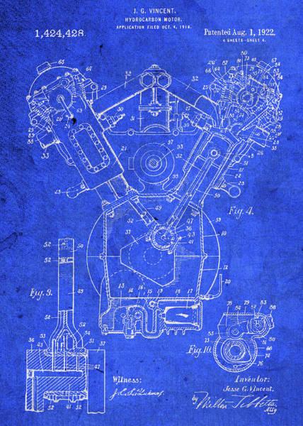 Motor Mixed Media - Vintage Vincent Hydrocarbon Motor Patent Blueprint by Design Turnpike